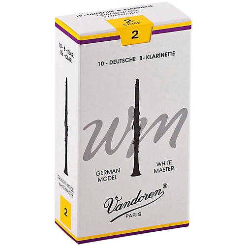 Vandoren White Master Bb Clarinet Reeds Strength 2, Box of 10