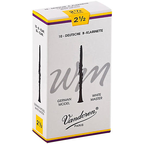 Vandoren White Master Bb Clarinet Reeds Strength 2.5, Box of 10