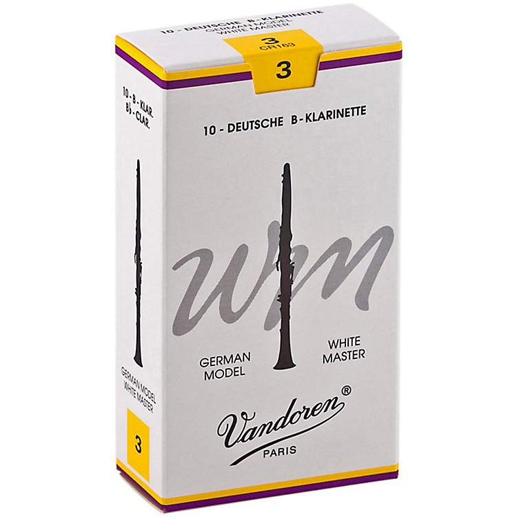 VandorenWhite Master Bb Clarinet ReedsStrength 3.5, Box of 10