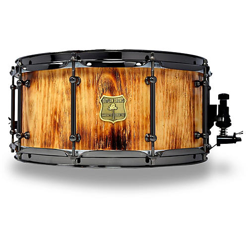 outlaw drums white pine stave snare drum with black chrome hardware 14 x 6 5 in forest fire. Black Bedroom Furniture Sets. Home Design Ideas