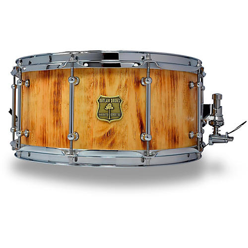 OUTLAW DRUMS White Pine Stave Snare Drum with Chrome Hardware-thumbnail