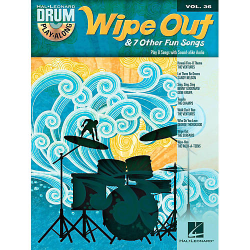 Hal Leonard Wipe Out & 7 Other Fun Songs - Drum Play-Along Volume 36 (Book/CD)-thumbnail