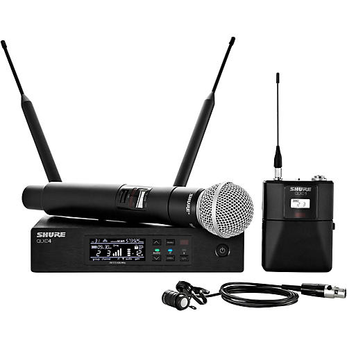 Shure Wireless Bodypack and Vocal Combo System with WL185 and SM58-thumbnail