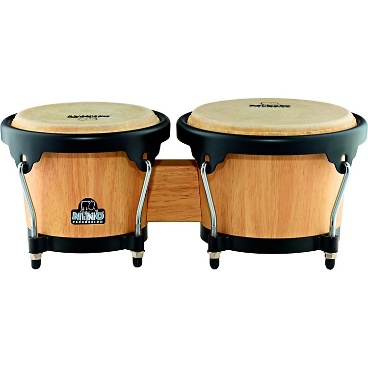 Nino Wood Bongos Natural w/Black Hardware