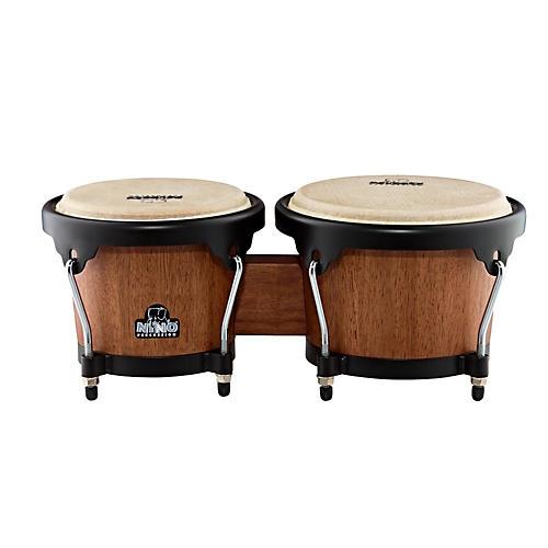Nino Wood Bongos Walnut Brown/Black Hardware 6 1/2 & 7 1/2 Inch