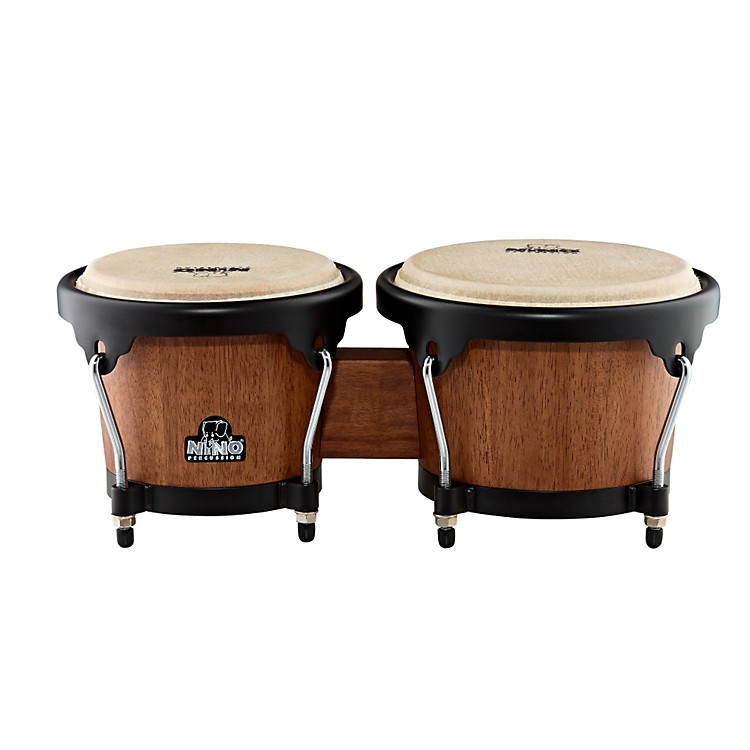 Nino Wood Bongos Walnut Brown/Black Hardware 6 1/2 & 7 1/2 Inch