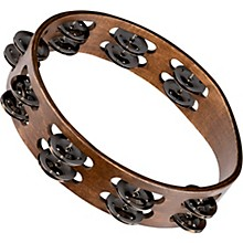 Meinl Wood Tambourine with Double Row Stainless Steel Jingles 10 in. Walnut Brown