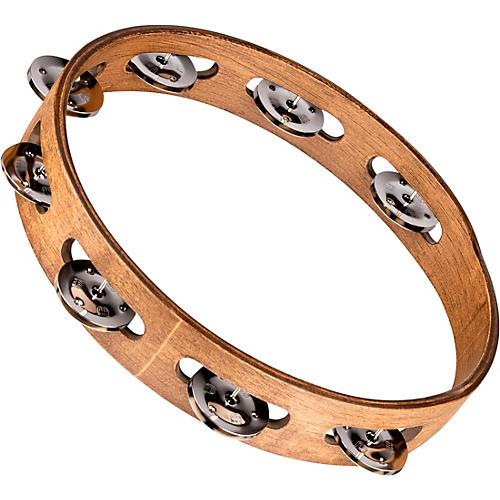 Meinl Wood Tambourine with Single Row Stainless Steel Jingles 10 in. Walnut Brown
