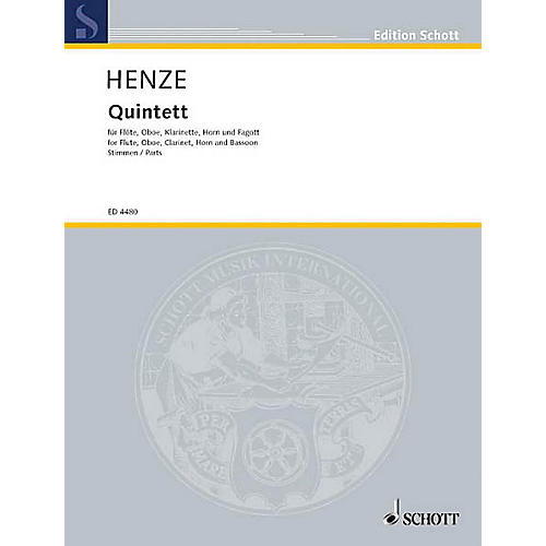 Schott Woodwind Quintet (Set of Parts) Schott Series by Hans-Werner Henze