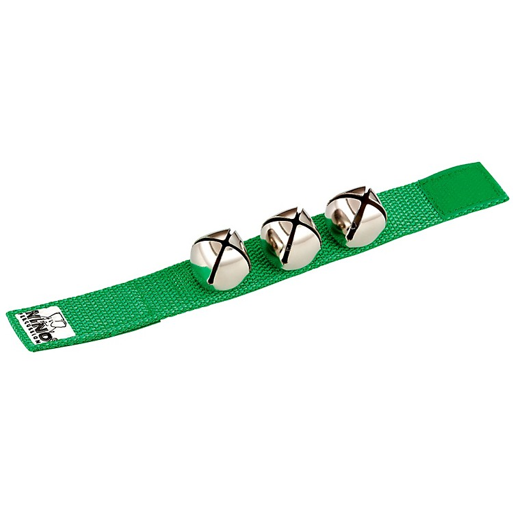 Nino Wrist Bells Strap with 3 Bells Green 9 Inch