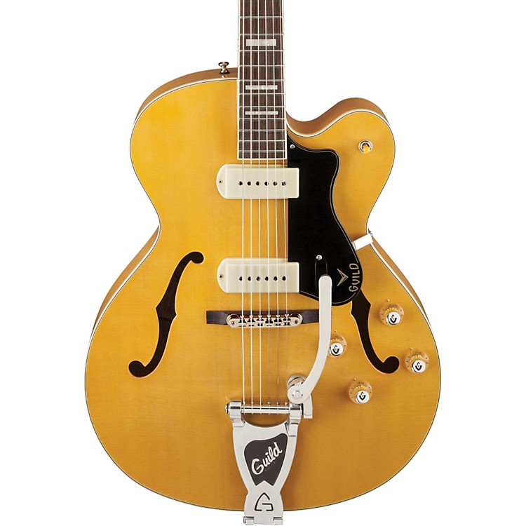 Guild X-175B Manhattan Hollowbody Archtop Electric Guitar with Guild Vibrato Tailpiece Blonde