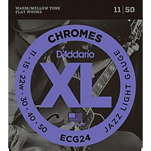 D'Addario XL Chromes Jazz Light Electric Guitar Strings ECG24 Flatwound
