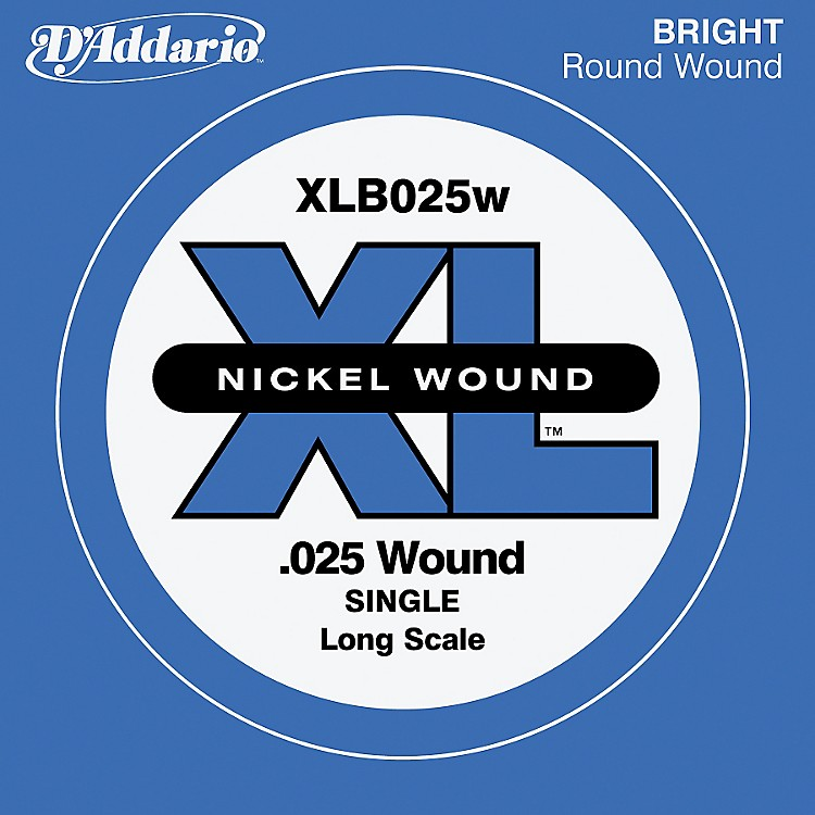 D'Addario XLB025W XL Nickel Wound Long Scale .025 Electric Bass String