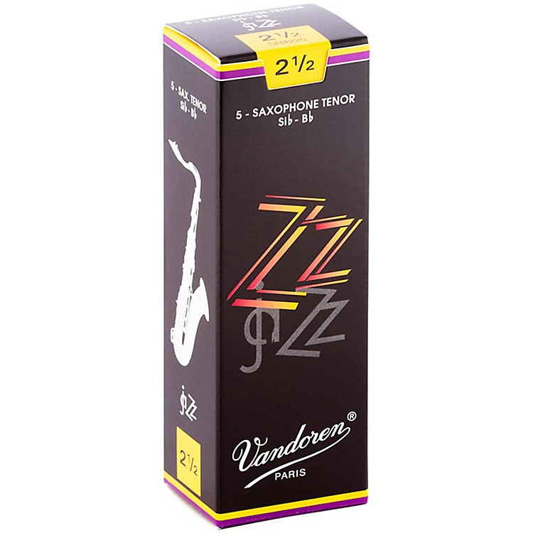 Vandoren ZZ Tenor Saxophone Reeds Strength - 2.5, Box of 5