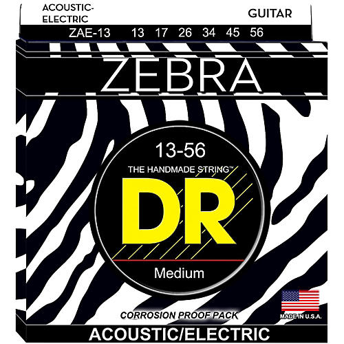 DR Strings Zebra Acoustic-Electric Medium Heavy Guitar Strings