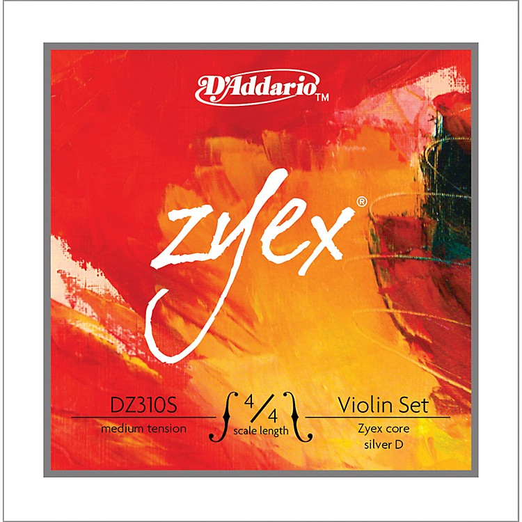 D'Addario Zyex 4/4 Violin String Set Silver  Medium
