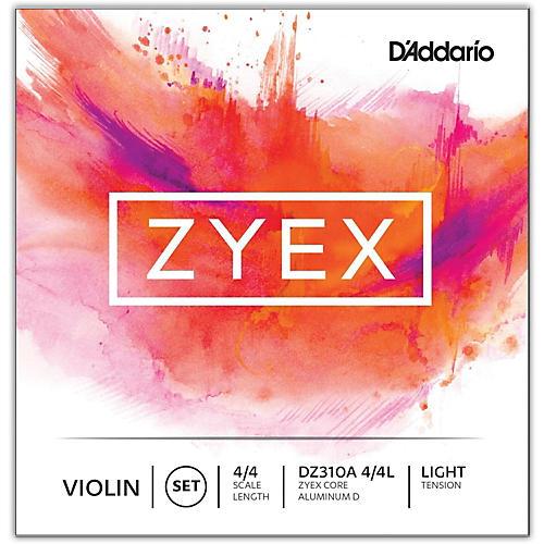 D'Addario Zyex Series Violin String Set 4/4 Size Light, Aluminum D