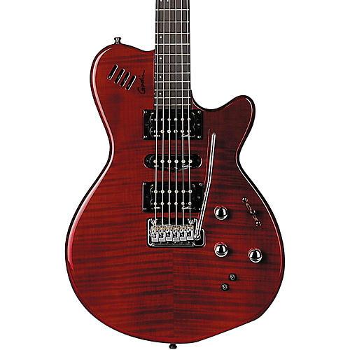 Godin xtSA Flame Electric Guitar Transparent Dark Red