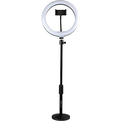 Gator 10-Inch LED Desktop Ring Light Stand with Phone Holder and Compact Weighted Base
