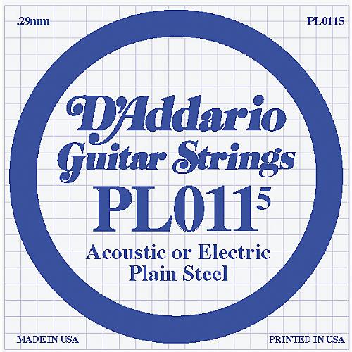 D'Addario 10-Pack Plain Steel Single Gauge Acoustic or Electric Guitar String