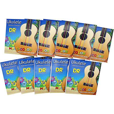 DR Strings 10-Pack Ukulele Multi-Color Soprano Concert Strings