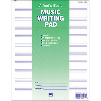 """Alfred 10 Stave Music Writing Pad (8 1/2"""" x 11"""")"""