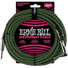 10' Straight to Angle Braided Instrument Cable Black and Green