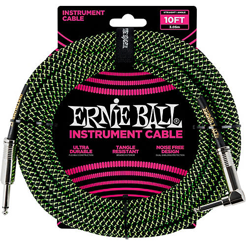Ernie Ball 10' Straight to Angle Braided Instrument Cable