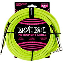 10' Straight to Angle Braided Instrument Cable Neon Green