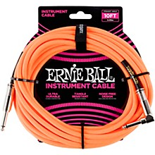 10' Straight to Angle Braided Instrument Cable Neon Orange