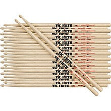 12-Pair American Classic Hickory Drumsticks Nylon Classic Metal
