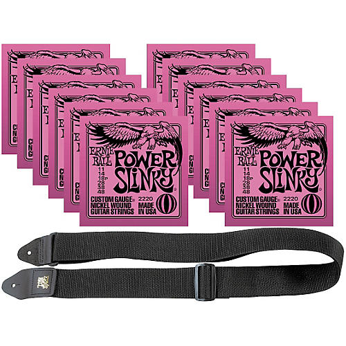Ernie Ball 12 Sets 2220 Nickel Power Slinky Strings and Free 2