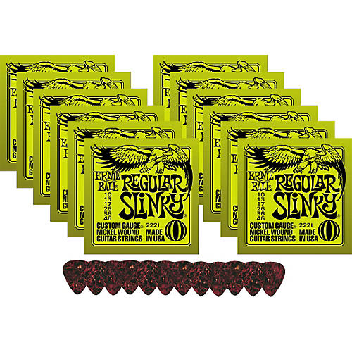 Ernie Ball 12 Sets 2221 Regular Slinky Strings with Picks