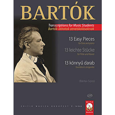 Editio Musica Budapest 13 Easy Pieces for Flute and Piano EMB Series Softcover with CD Composed by Bela Bartok