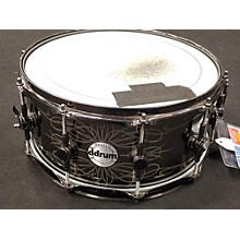 ddrum 14X5.5 Reflex Tattooed Lady Engraved Black Steel Snare Drum