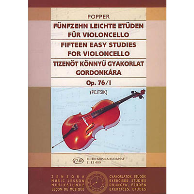 Editio Musica Budapest 15 Easy Studies, Op. 76/I EMB Series by Dávid Popper