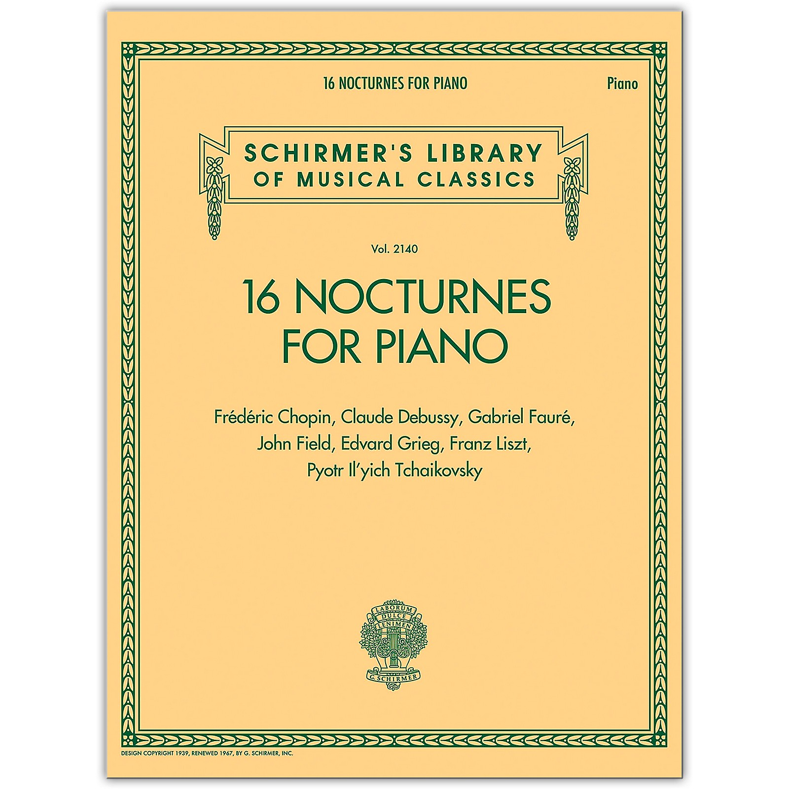 G. Schirmer 16 Nocturnes for Piano - Schirmer Library of Classics Volume 2140 for Piano Solo