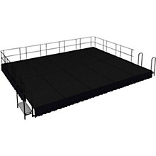 "National Public Seating 16' x 20' Stage Package, 16"" High with Shirred Pleat Black Skirting"