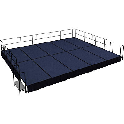 """National Public Seating 16' x 20' Stage Package, 16"""" High with Shirred Pleat Black Skirting"""