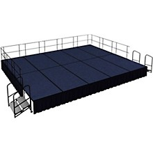 """National Public Seating 16' x 20' Stage Package, 24"""" High with Shirred Pleat Black Skirting"""