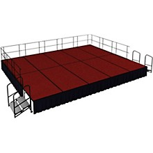 "National Public Seating 16' x 20' Stage Package, 24"" High with Shirred Pleat Black Skirting"