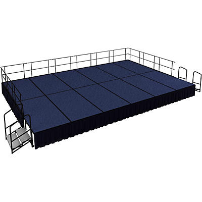 """National Public Seating 16' x 24' Stage Package, 24"""" High with Shirred Pleat Black Skirting"""