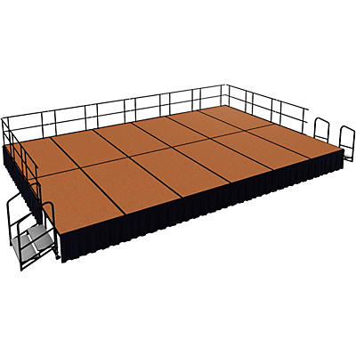 "National Public Seating 16' x 24' Stage Package, 24"" High with Shirred Pleat Black Skirting"