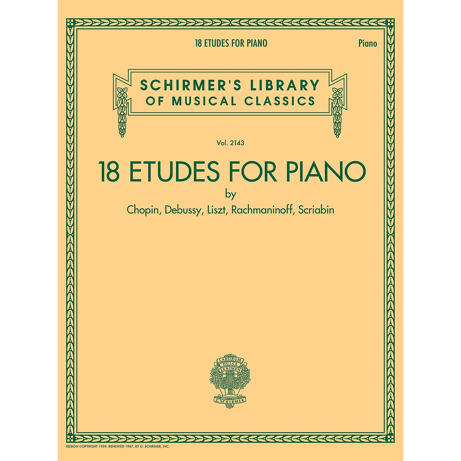 G. Schirmer 18 Etudes for Piano - Schirmer's Library of Musical Classics Volume 2143