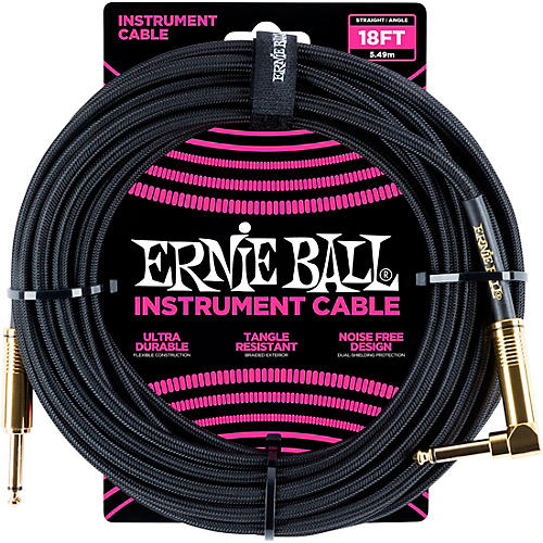 Ernie Ball 18' Straight to Angle Braided Instrument Cable Black/Black