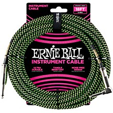 18' Straight to Angle Braided Instrument Cable Black and Green