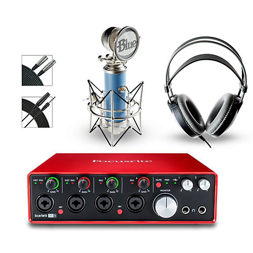 Focusrite 18i8 Recording Bundle with Blue Mic and AKG Headphones