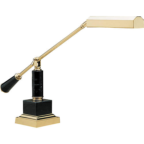 House of Troy #190M Polished Brass/Black Marble Grand Piano Lamp