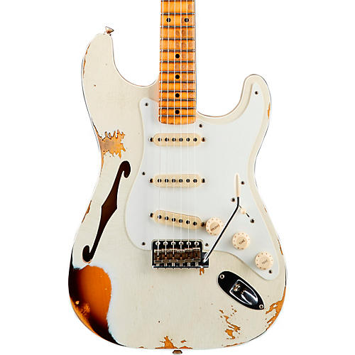 Fender Custom Shop 1956 Heavy Relic Thinline Stratocaster Electric Guitar Aged Olympic White Over Choc 2-Tone Sunburst
