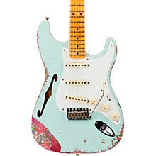 1956 Heavy Relic Thinline Stratocaster Electric Guitar Aged Sonic Blue Over Pink Paisley